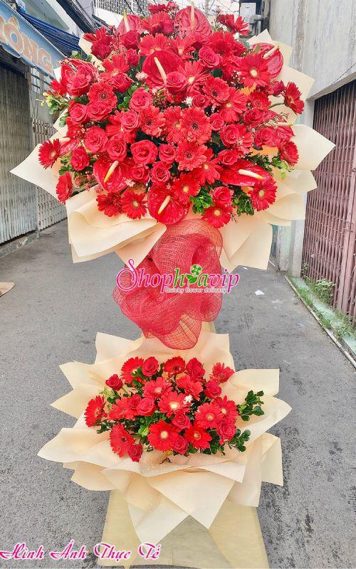 Kệ hoa chúc mừng khai trương tại shop hoa tươi Bàu Bàng