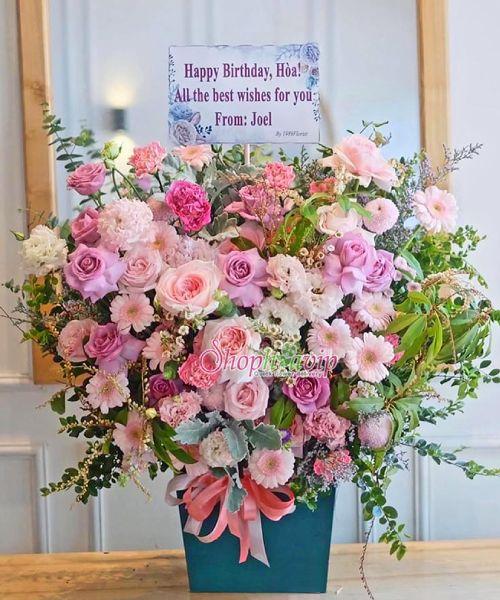 Giỏ hoa chúc mừng sinh nhật tại shop hoa tươi Long Thành