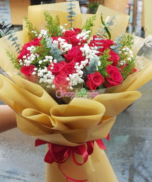 Bó hoa hồng tình yêu tại shop hoa tươi Lai Châu