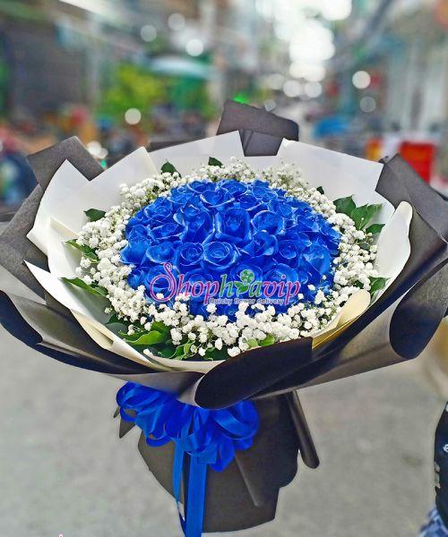Bó hoa hồng xanh tại shop hoa tươi Quảng Ninh