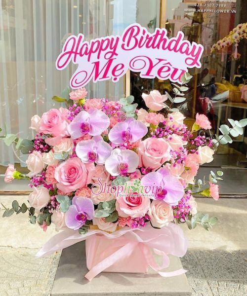 Giỏ hoa chúc mừng sinh nhật tại shop hoa tươi Quảng Ninh