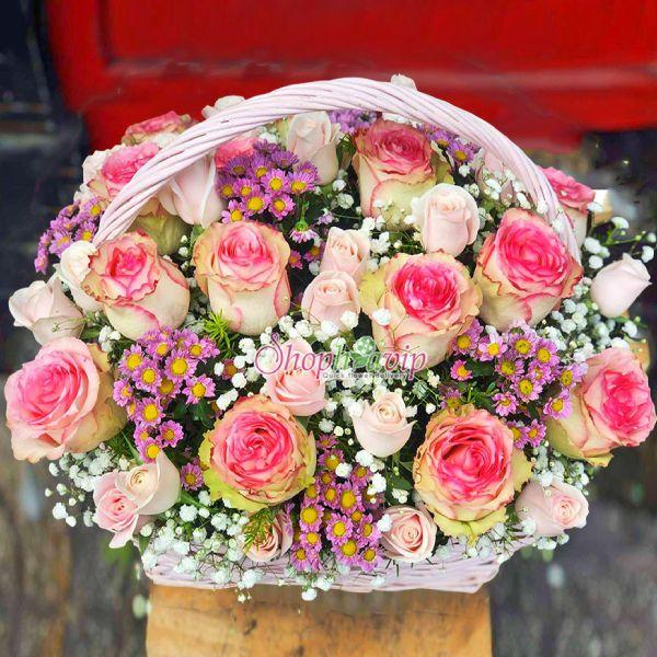 Giỏ hoa chúc mừng tại shop hoa tươi Xuân Lộc