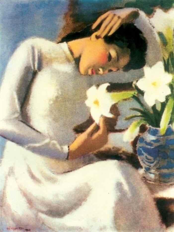 """Bức tranh 'Thiếu nữ bên hoa huệ"""""""
